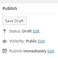 WordPress' publish menu