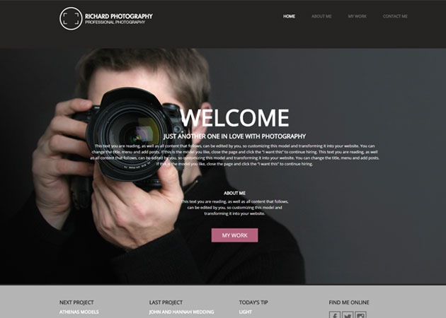 Free WordPress template for photographer