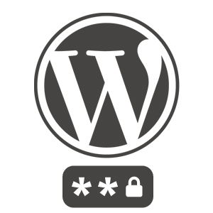 WordPress logo with a password